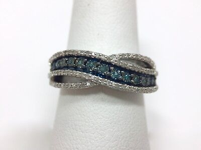 - 1/2ct White Blue Diamond Crossover Band Ring Size 7 Sterling Silver 925 FMGE