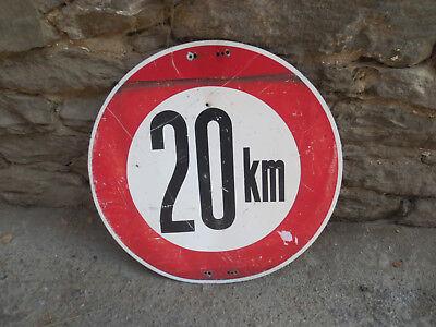 """Altes Geburtstagsschild Verkehrsschild Höchstgeschwindigkeit """"20 km"""" von 1957"""