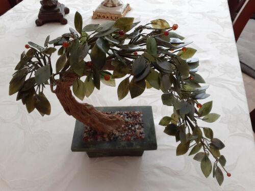 Large Vintage Jade Bonsai Flower Tree Old & Beautiful Condition