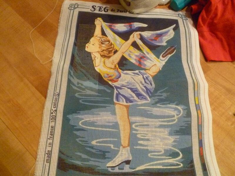 Needlepoint Canvas  SEG de Paris Figure Skater 9 x 13