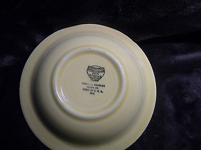 VINTAGE Semi Vitreous Yellow Floral Desert Bowl Edwin M. Knowles China Co. USA