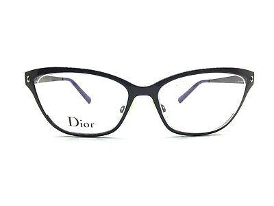 Christian Dior Eyeglasses CD3766 Full Rim Frame 52-16-145 Black Violet Cat (Christian Dior Cat Eye Glasses)