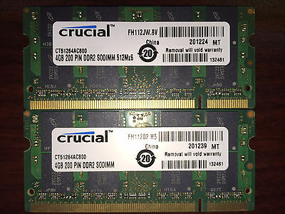 8GB (2x 4GB) CRUCIAL PC2-6400 LAPTOP MEMORY DDR2-800 800Mhz RAM 200pn 4 DELL HP