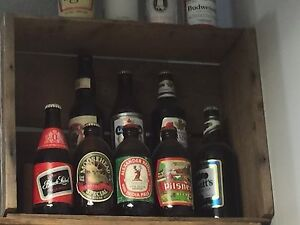 FULL beer bottles (8) vintage