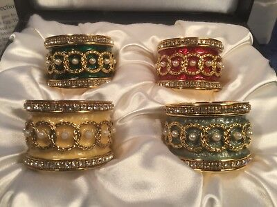 Used, Beautiful Vintage Faberge Crystal & Enamel Napkin Ring Holders Set of 4, m64 for sale  Palm Beach Gardens
