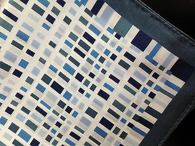 "New 14"" Satin 100%  Silk Pocket Square  Geometric  Blues Designer Navy edge"