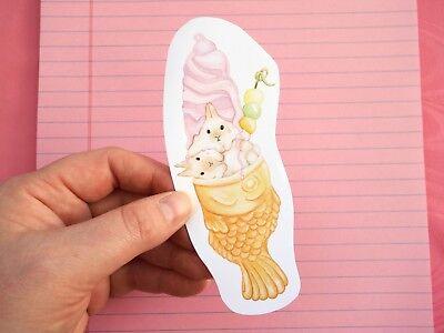 Handmade Taiyaki ice cream Bun Bun vinyl sticker! Kawaii bunny, bunnies, dessert