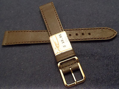 ZRC Made in France Brown Calfskin Leather 16mm Width Watch Band Gold Tone Buckle 16 Mm Width Band