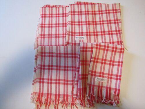 4 VINTAGE COTTON DISH TOWELS..RED PLAID..PENNEYS