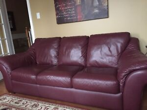 Leather Couch, 2 wing back reclining chairs