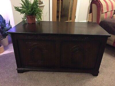 Antique Style  Oak Coffer Blanket Bedding Box