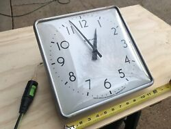 Vintage Simplex Glass / Metal 12 Square SLAVE Wall Clock - TESTED - USA MADE
