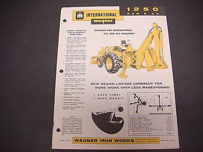 International Harvester Wagner Model 1250 Tractor Powr-ho Cover Sheet M4197