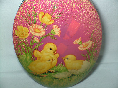 Vtg Metal / Tin Easter Egg Candy Holder Baby Chicks By Metal Box Co. England
