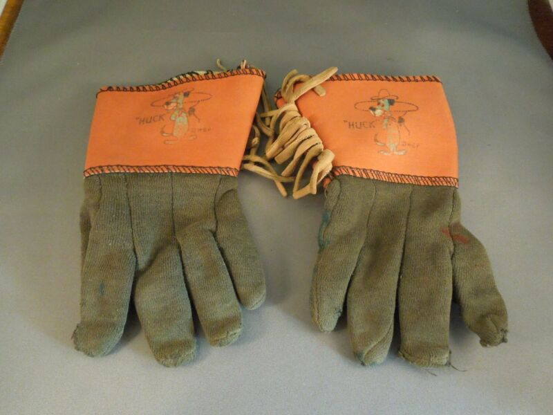 "Vintage Huckleberry ""Huck"" Hound Leather Cowboy Costume Gloves"