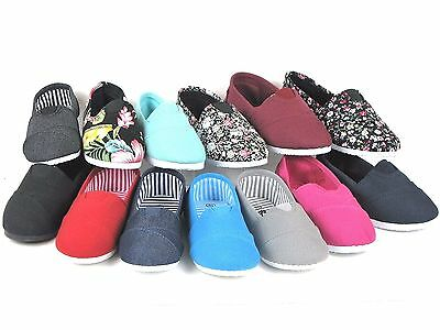 New Kids Boys Girls Simple Canvas Slip-On Shoes Flats Loafers 13 Colors Size 9-4](Girl Flats Shoes)