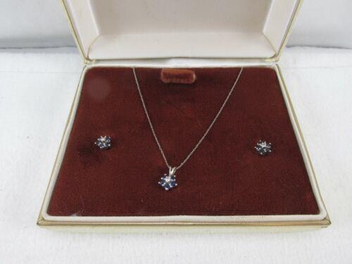 "Vintage 14kt White Gold, Sapphire & Diamond Pendant 22"" Necklace & Earrings #506"