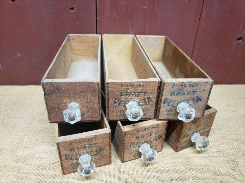 6 WOODEN KRAFT VELVETA 2 LB. CHEESE BOX / BOXES VINTAGE ANTIQUE DRAWERS