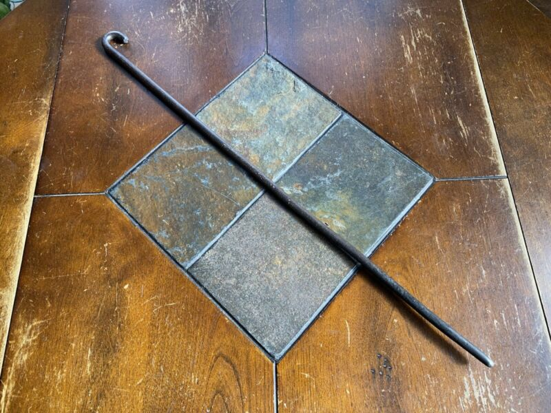 """Antique Early Wrought Iron Fireplace Poker Crooked End Blacksmith Made 26.5"""""""