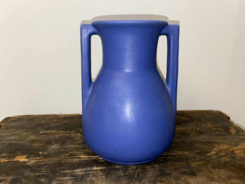 Terrific Antique Teco Pottery Matte Blue Architectural Vase Shape 403 8""