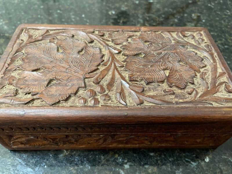 Vintage Hand Carved German Wood Hinged Box - Trinket Jewelry Storage