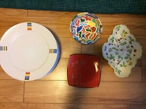 Plates and serving dishes.