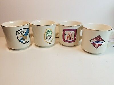 SET OF 4 1970s Vintage Boy Scouts Gold Rimmed Mugs BSA Coffee Mugs