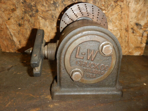VINTAGE L-W CHUCK SMALL INDEX HEAD WITH 1 1/2-8 SPINDLE  MACHINIST JIG FIXTURE