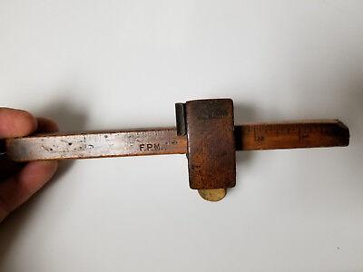 Vintage Wood Mortise Gauge ruler F.P.M. Signed