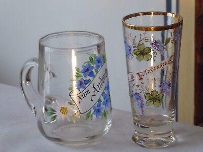 S13-   antikes  Andenkenglas und Krug  Dekorglas - zum Andenken ca 1900 - 1920
