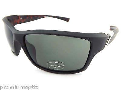 Dark Black Lens Rock (STONE wrap Sunglasses MATTE BLACK over BROWN TORTOISE/ Dark Green Lens ST150 )
