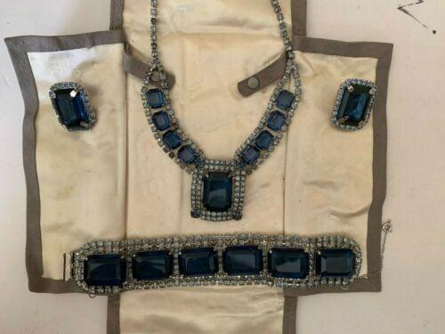 Vintage Large Sapphire Blue Pronged Rhinestone Necklace Bracelet Earring Set