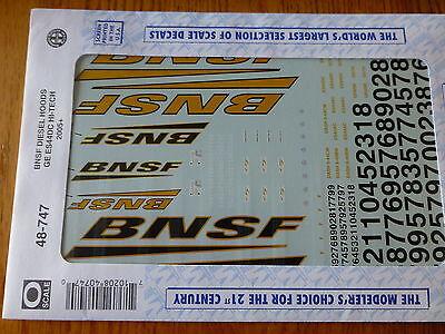 Microscale Decal O #48-747 BNSF Hood Diesels GE ES44DC Hi-Tech 2005+