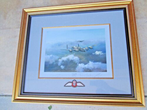 WWII Basil Jackson Signed VC Recipient Lancaster by Robert Taylor Framed Print