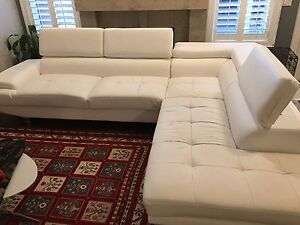 White faux leather, 2 piece sectional
