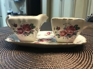 Vintage Sugar and creamer set with tray