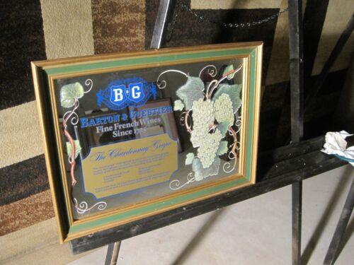 "B & G BARTON & GUESTIER ""Fine French Wines"" WOOD FRAMED MIRROR SIGN 20x15"""
