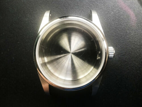 A 36MM DOMED BEZEL DRILLED THROUGH LUGS WATCH CASE NO CYCLOP FIT ETA2824 OR NH35