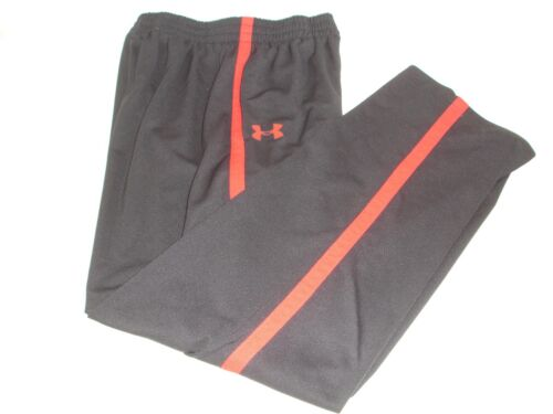 Under Armour Youth Black Red Stripe Track Pants XL Run Training Warm