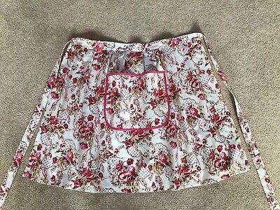 Ladies country style Half Apron Vintage Retro Style Pretty Pink Flowers Print