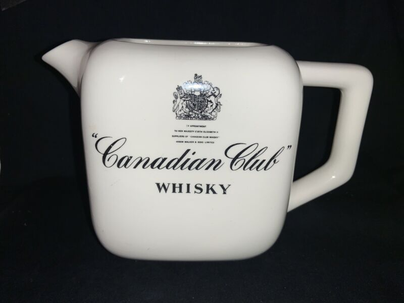 Canadian Club Whisky Pub Jug Water Pitcher - Queen Elizabeth II Royal Seal RARE!