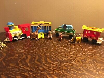 Vintage 1973 Fisher Price Little People Circus Train Animals Cars Engine - H