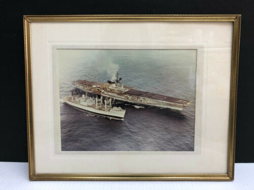 "Vintage USS Midway Aircraft Carrier Ships Photograph Picture MCM Framed 11""x14"""