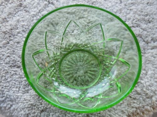 "Vtg ANCHOR HOCKING Uranium Vaseline Depression Glass 8"" Serving Bowl FREE SHIP"