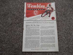 * WEMBLEY v WIMBLEDON 13/7/50 unmarked speedway programme