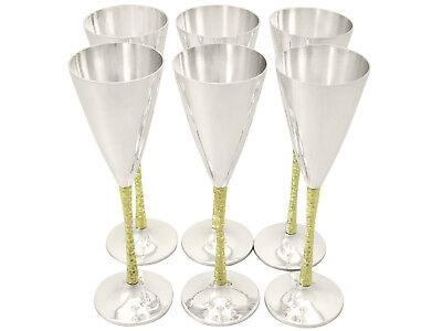 Vintage Stuart Devlin Champagne Flutes Sterling Silver Set of Six 1978