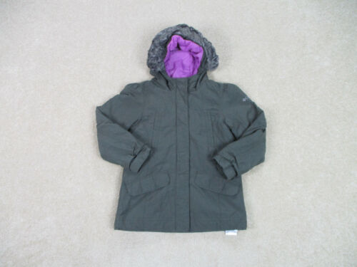 Columbia Jacket Girls Extra Small Gray Purple Hooded Outdoors Coat Kids Youth