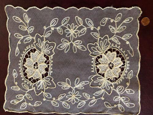 VINTAGE lace Centerpiece floral embroidered and appliqué net  #2