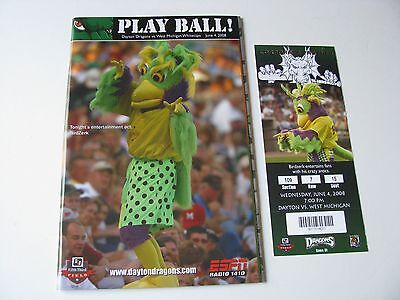 Dayton Dragons vs. West Michigan BirdZerk Cover Ticket Stub Program Set 6-4-2008