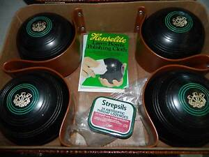 Set of 4 Henselite Size 4-7/8 Lawn Bowls with carry case !!! More Woodville South Charles Sturt Area Preview